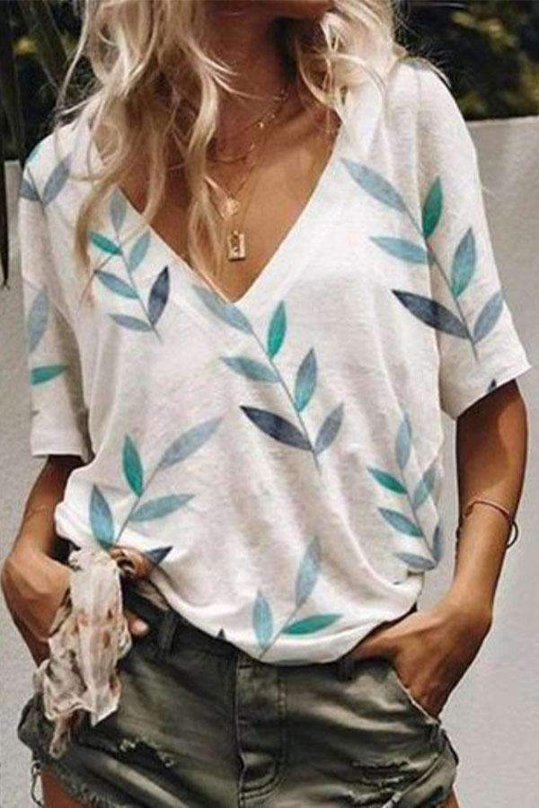 Leaf Print V-neck Casual T-shirt