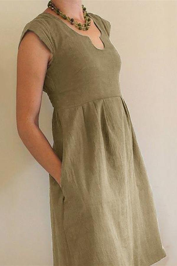 Solid Paneled U-neck Casual Pockets Midi Dress