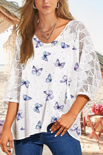 Paneled Lace Hollow Out Butterfly Print V-neck Casual Blouse