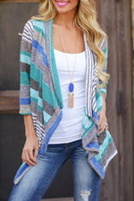Asymmetric Knitted Striped Cardigans
