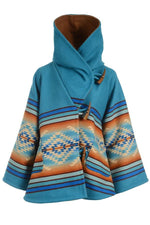 Holiday Geometric Jacquard Horn Buckles Paneled Pockets Hooded Coat