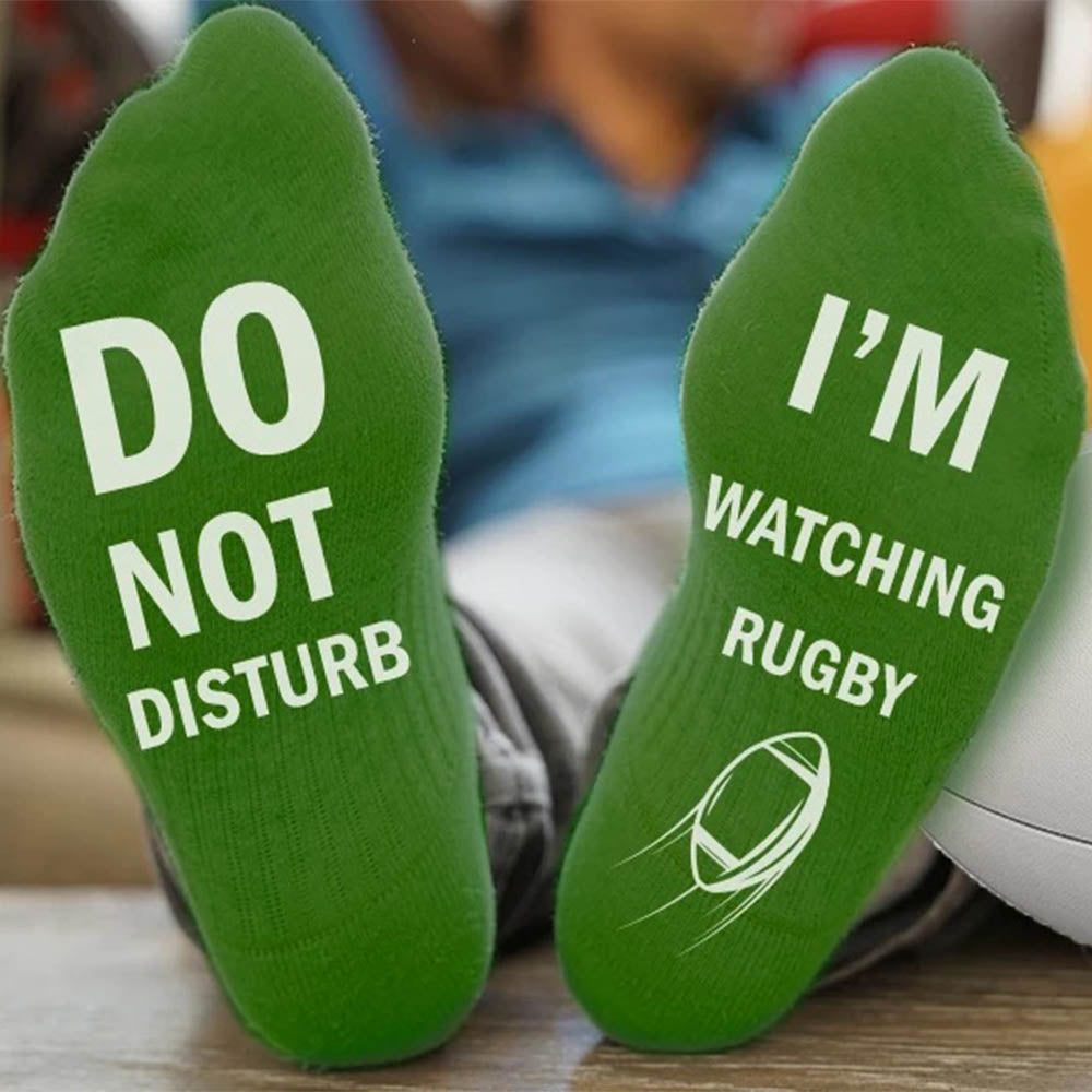 DO NOT DISTURB WATCHING RUGBY Letter Jacquard Casual Socks