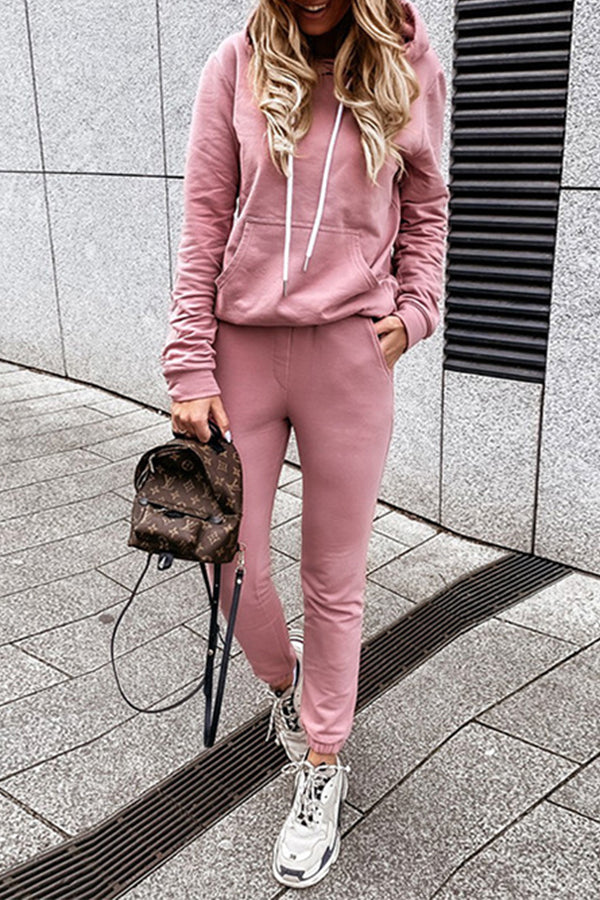Sports Fitness Solid Hoodie With Foot-binding Pants Casual Two-pieces Set