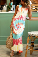 V Neck Sleeveless Shift Tie-dyed Casual Maxi Dress