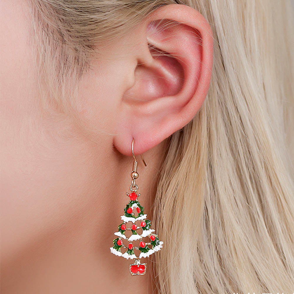 Women Lovely Christmas Tree Cutout Eardrop Festival Earrings