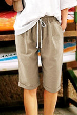 Solid Casual Self-tie Side Pockets Short Pants