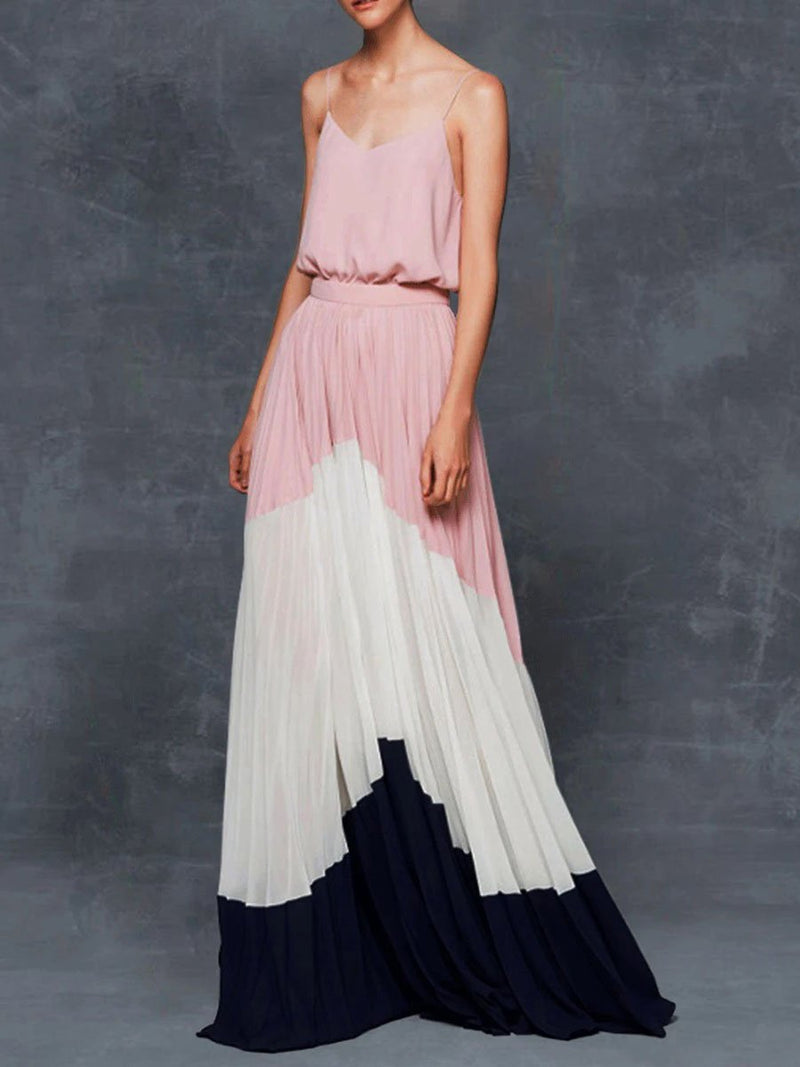 Casual Spaghetti Color-block Pleated Maxi Dress