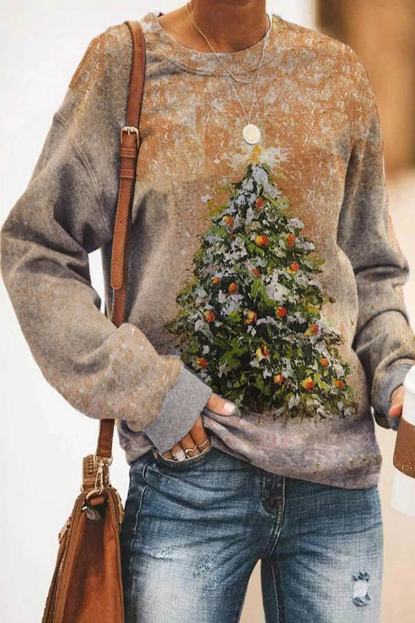 Gradient Vivid Christmas Tree Covered By Snow Jacquard Holiday Sweatshirt