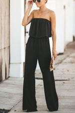 Off The Shoulder Overlay Casual Elastics Jumpsuit