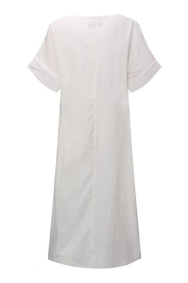 Casual Solid V Neck Short Sleeves Maxi Dress