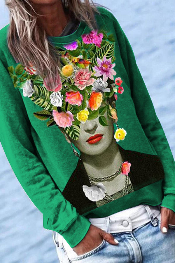 Frida Kahlo Print Floral Crown Green Top Daytime T-shirt