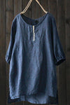 Solid Buttoned High Low Linen T-shirts