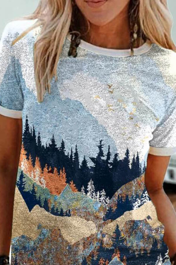 Literary Nature Landscape Forest Gradient Print Shift T-shirt