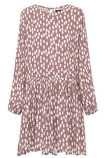 Polka Dots Print Paneled Pleated Mini Dress