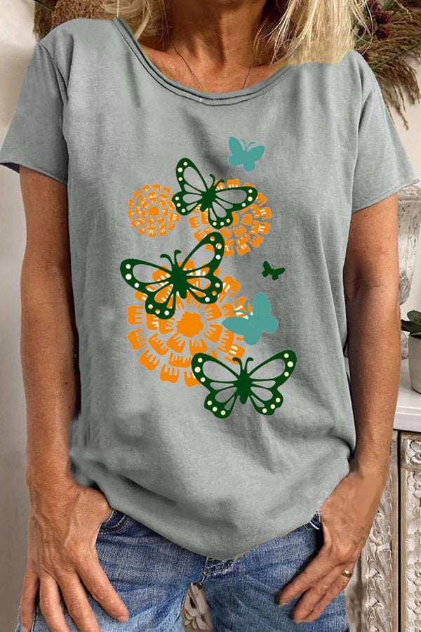 Casual Yellow Floral With Green Butterfly Print Shift Daily T-shirt