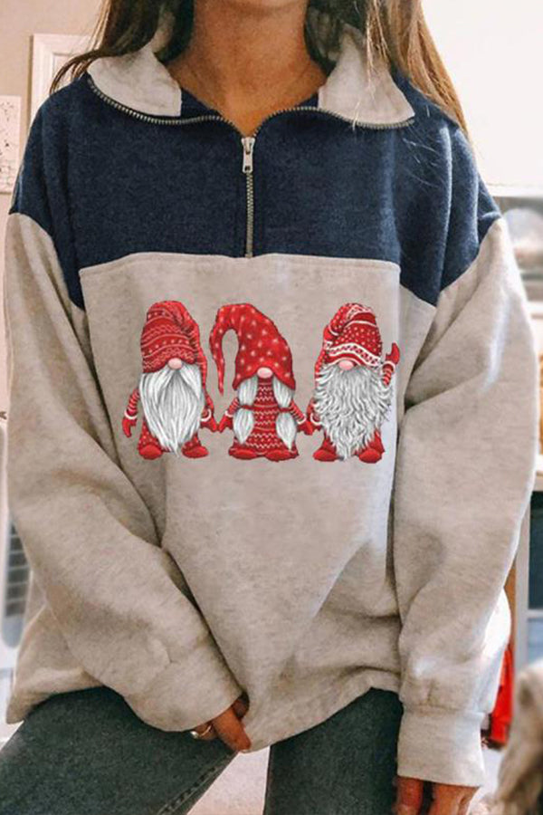 Fashion Christmas Three Santa Claus In Red Hand In Hand Print Color-block Sweatshirt