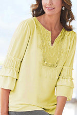 Casual Solid Lace V Neck Half Sleeves T Shirt