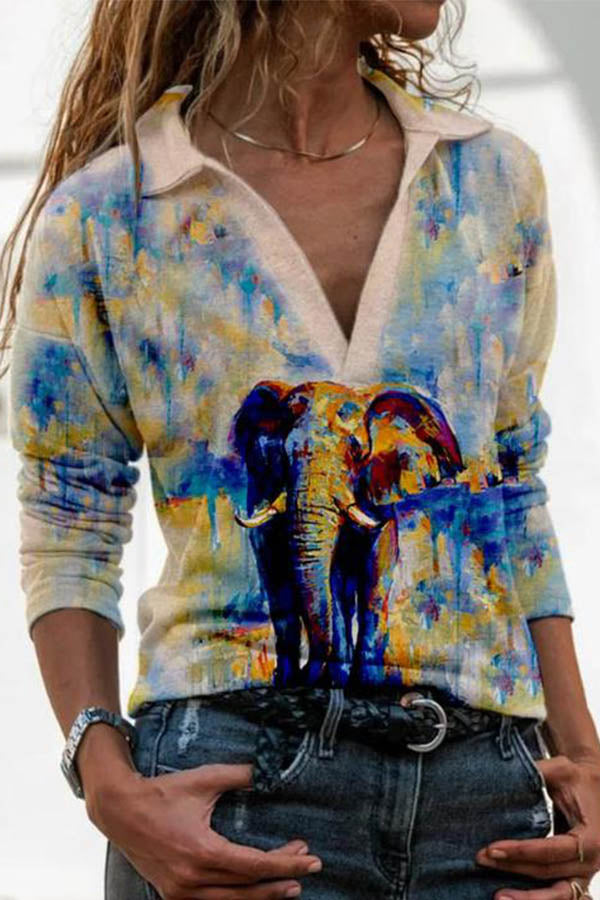 Women Gradient Lifelike Elephant Print Lapel Collar Sheath Blouse