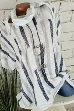 Paneled Stripe Shimmer Short Sleeves Casual Blouse