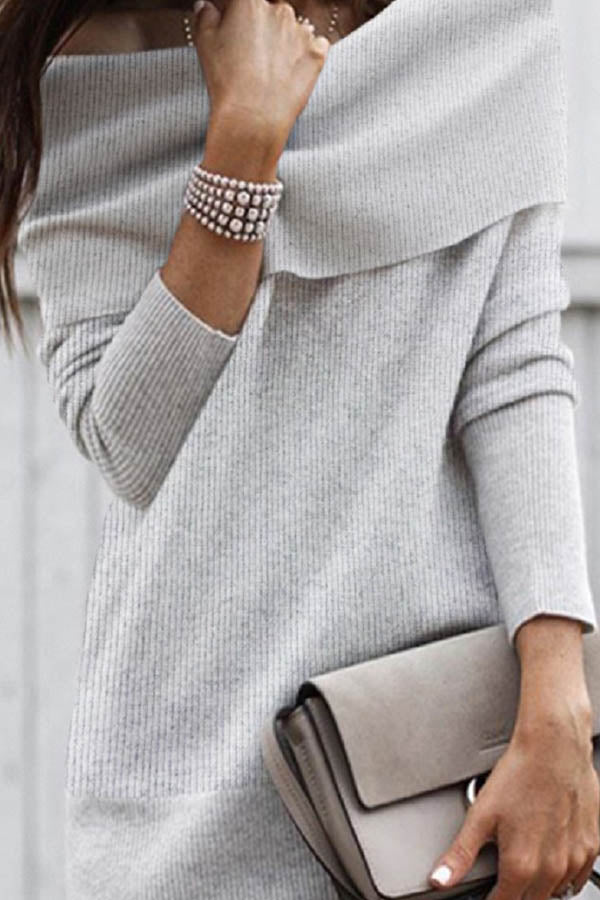 Elegant Solid Knitted Ribbed Off Shoulder Lady Sweater