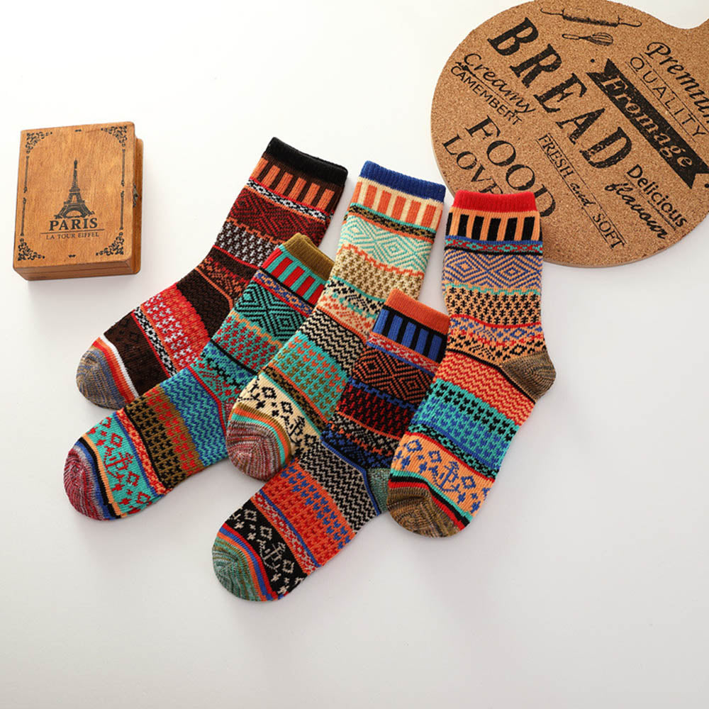 5 Pairs Ethinic Vintage Striped Jacquard Knitted Socks