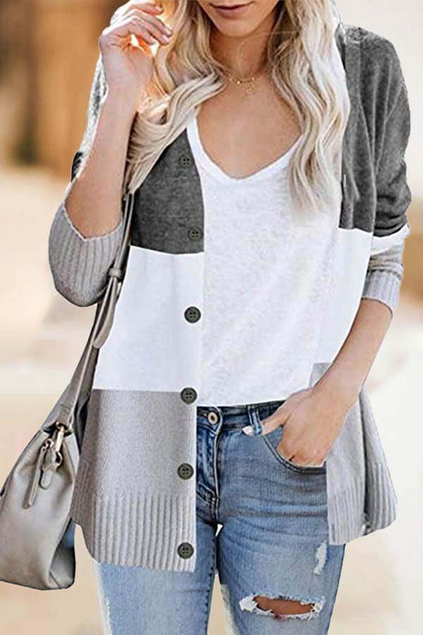 Striped Jacquard Knitted Color-block Buttoned V-neck Ribbed Daily Cardigan
