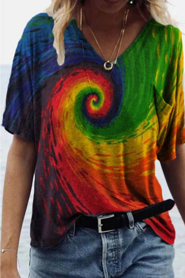 Artistic Abstract Colorful Leaf Painting Print Pocket T-shirt