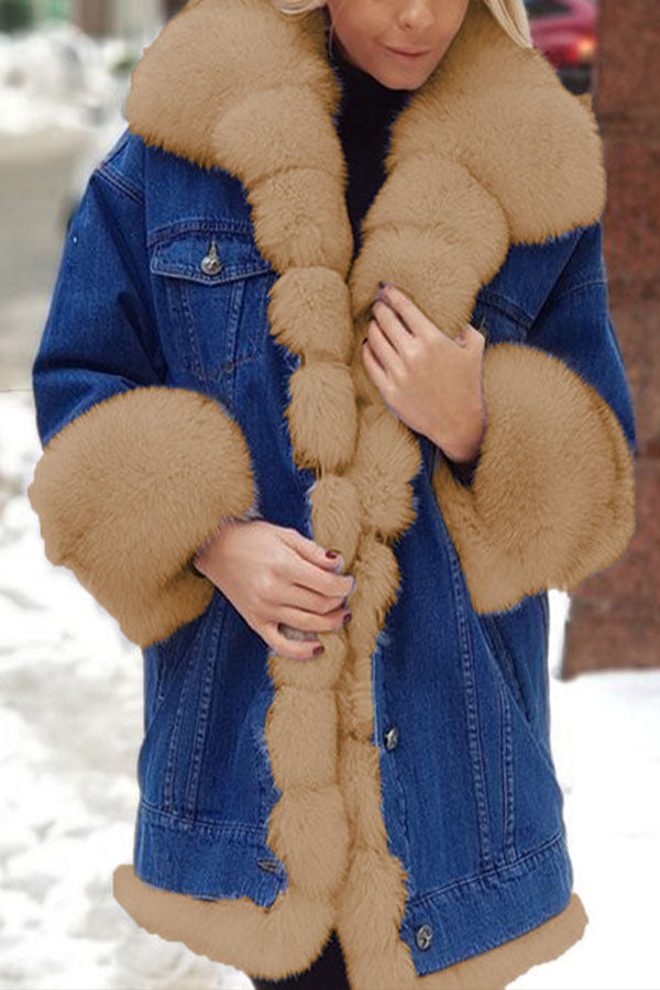 Fashion Solid Denim Fuzzy Buttons Down Lapel Collar Coat