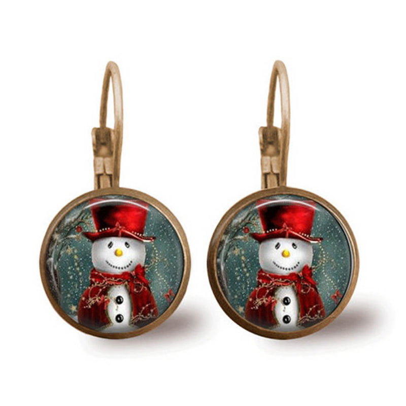 Holiday Christmas Snowman In Snow Decoration Glass Gem Ear Hook Earrings