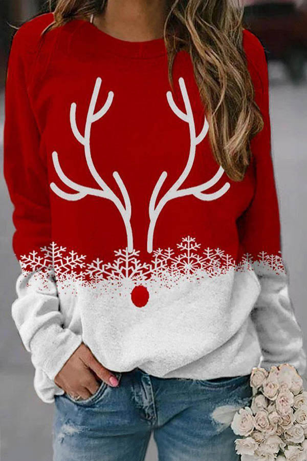Christmas Party Lively Elk Antlers Print Color-block T-shirt