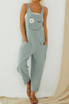 Daisy Print Buttoned Sleeveless Paneled Pockets Casual Jumpsuit