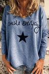 Letter Star Print Loose Crew Neck T-shirts