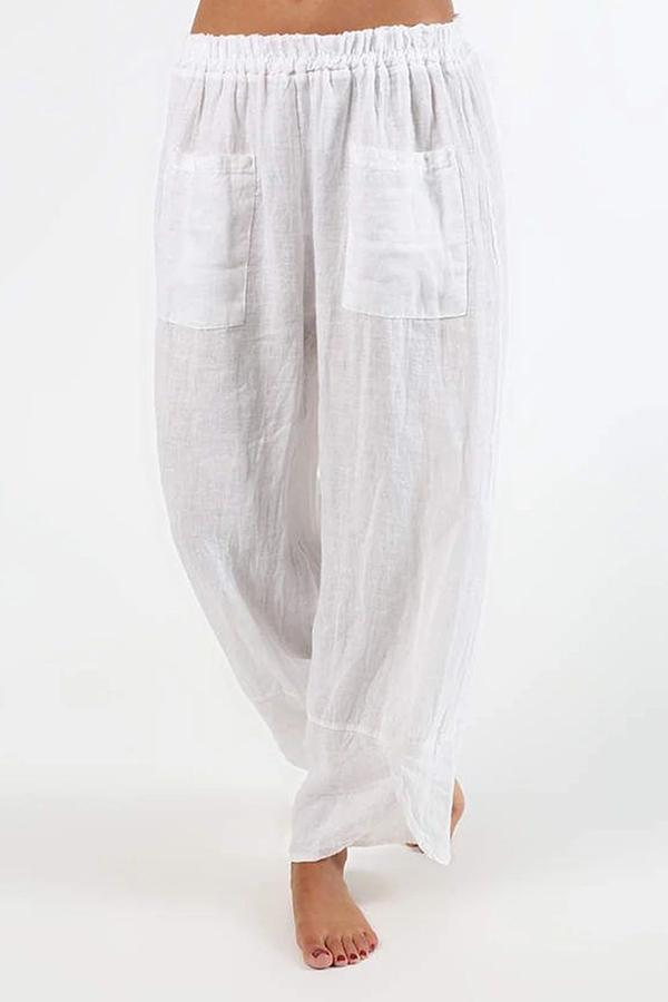 Casual Solid Pockets Linen Trousers