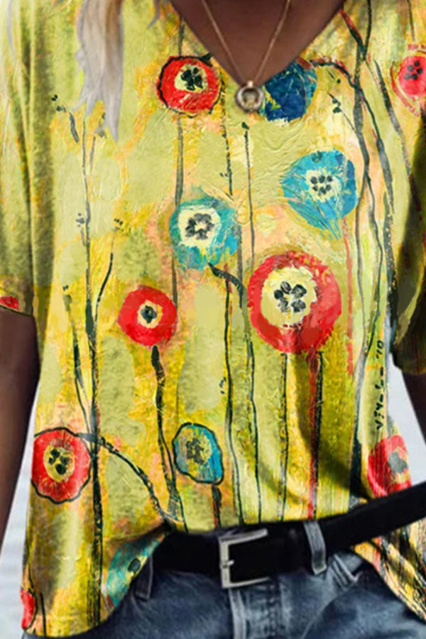 Artistic Abstract Colorful Floral Oil Painting Print Shift T-shirt
