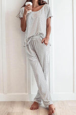 Casual Striped Print Top With Side Pockets Long Pants Two Pieces Set