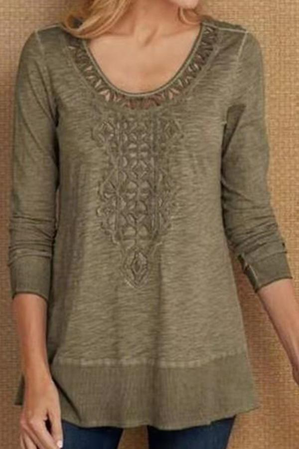 Floral Embossed Solid Crew Neck Casual Blouse