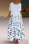 Side Pockets Two Piece Short Sleeve Polka Dot Maxi Dress