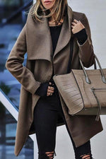 Fashion Solid Lapel Collar Zipper Front Woolen Coat