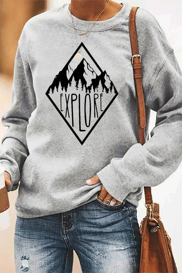 EXPLORE Letter Mountain Forest Print Nature Landscape Casual T-shirt