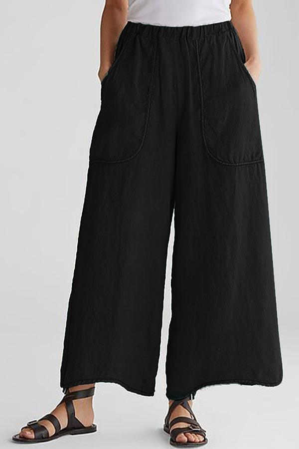 Paneled Solid Side Pockets Casual Wide Leg Pants