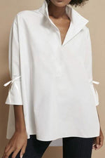 Solid Casual Bell Sleeves High Low Paneled Shirt