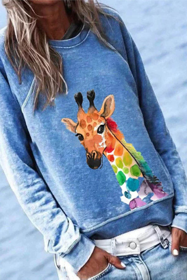 Cartoon Giraffe Print Paneled Casual Crew Neck Long Sleeves Sweatshirt