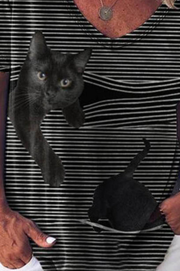 Lively Black Cat Striped Print Casual T-shirt