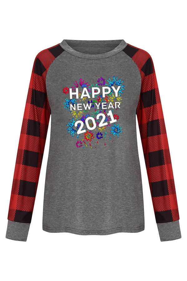 2021 Happy New Year Letter Plaid Fireworks Print Color Block Raglan Sleeves Holiday T-shirt