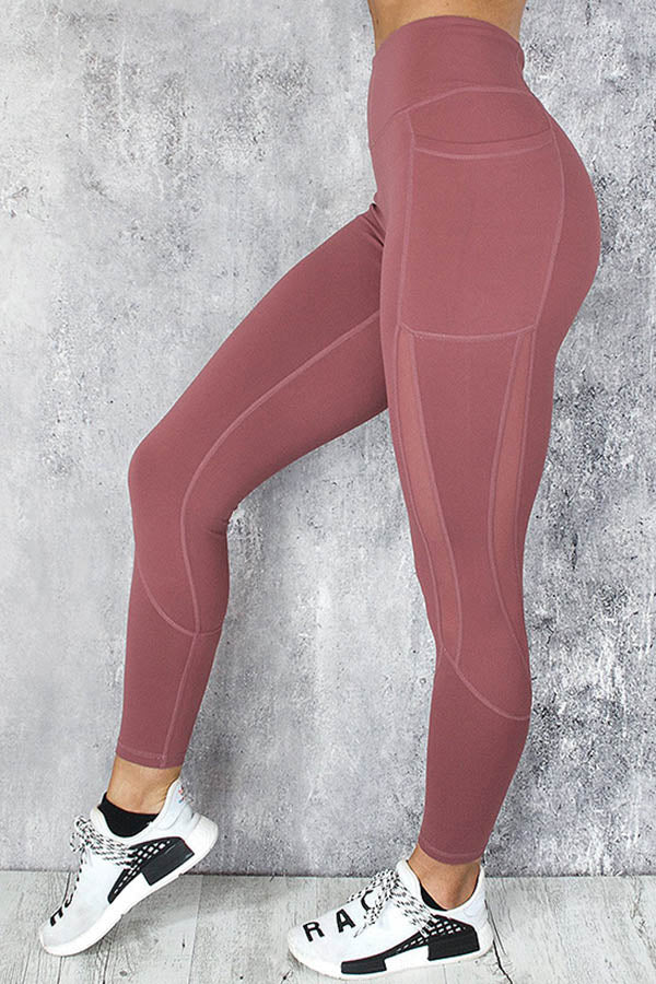 Solid Sports Yoga Fitness See-through Look Paneled Pockets High Waist Leggings