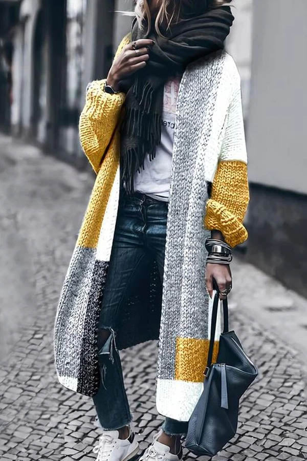 Street Holiday Solid Color-block Knitted Ribbed Long Cardigan