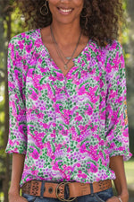 Holiday Lady Floral Print Buttons Down V-neck Blouse