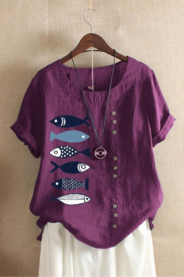 Fish Print Paneled Buttons Down Casual T-shirt