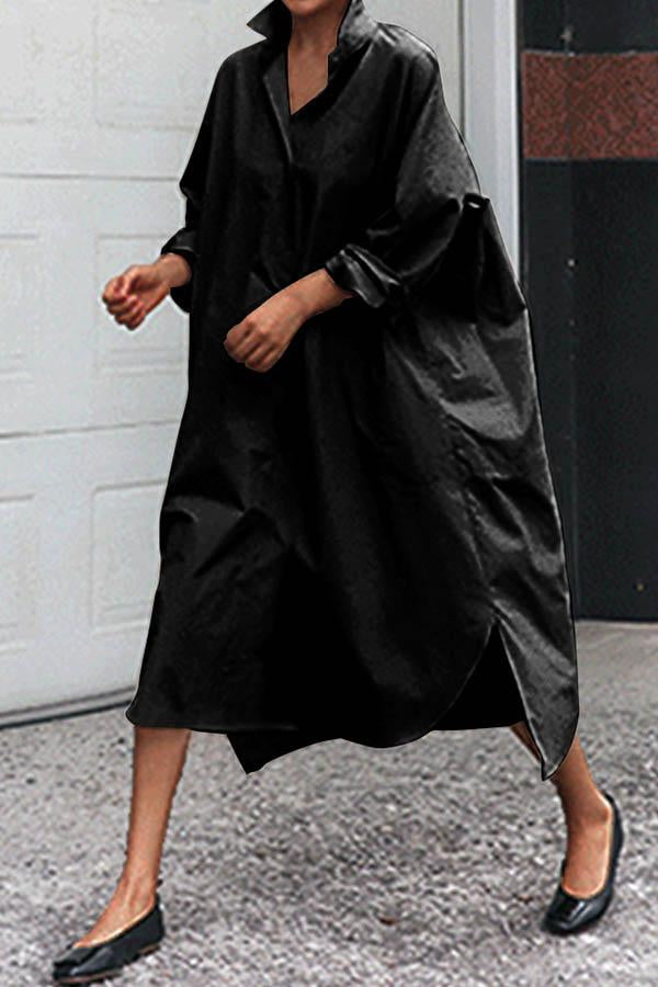 Casual Solid Paneled Shirt Collar Loose Slit Midi Dress