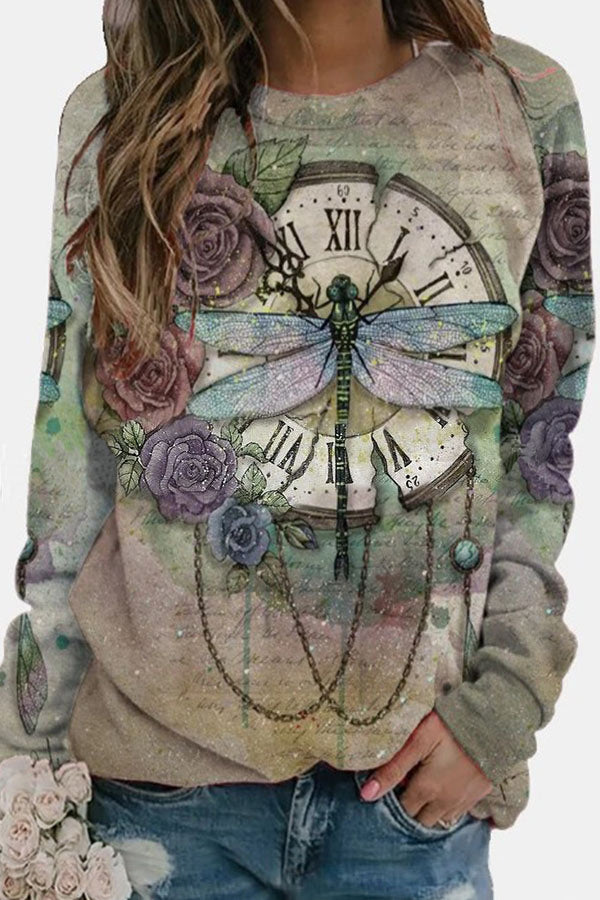 Retro Rose Gradient Ancient Clock Lifelike Dragonfly Print T-shirt
